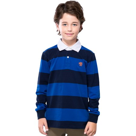 Leo&Lily Boys' Long Sleeves Striped Cardigan Rugby Polo Shirt (Blue,5)