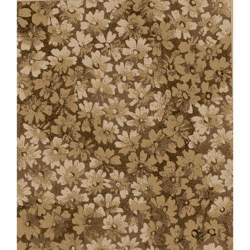 Quiltable Small Ombre Floral Fabric, Brown