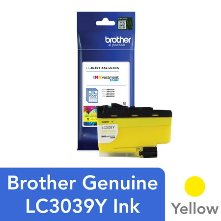 Brother Genuine LC3039Y, Single Pack Ultra High-yield Yellow INKvestment Tank Ink Cartridge, Page Yield Up To 5,000 Pages, LC3039 Genuine Yellow Ink Tank