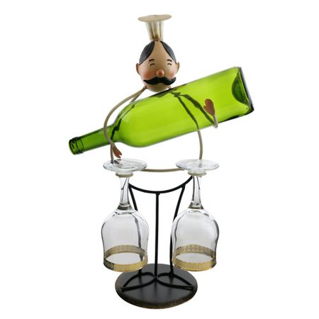Wine Bodies Luann Happy Chef Wine And Glass Holder 1 Bottle Tabletop