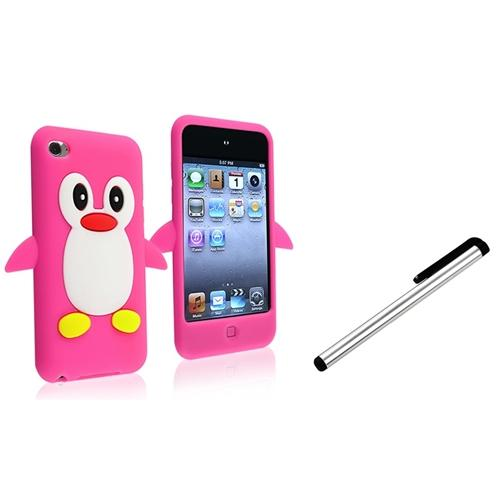 INSTEN For Apple iPod TOUCH 4TH Gen PENGUIN SILICONE Protective Case (HOT PINK) COVER + NC CAPACITIVE STYLUS PEN