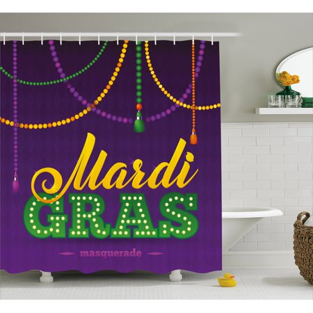Mardi Gras Shower Curtain Beads And Tassels Masquerade Theme Calligraphy Design Fun Print Fabric Bathroom Set With Hooks Purple Marigold Fern Green