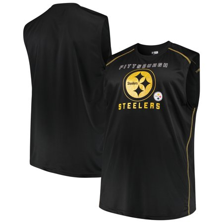 Men's Majestic Black Pittsburgh Steelers Big & Tall Endurance Test Muscle Tank Top