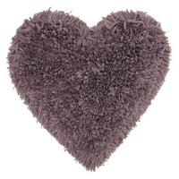 "Nourison Frame Heart Shag Decorative Throw Pillow, 18"" x 18"", Lavender"