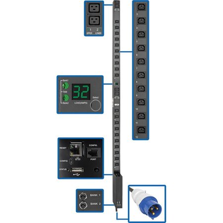 Tripp Lite PDU Switched 7.4kW 230V 32A Blue IEC 309 LX Interface 0URM TAA - Switched - 4 x IEC 60320 C19, 20 x IEC 60320 C13 - 230 V AC - Network (RJ-45) - 0U - Vertical - Rack Mount - Rack-mountable