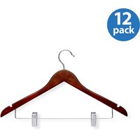 Honey Can Do Wood Suit Hanger with Clips, Cherry Finish (pack of 12)