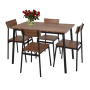 Karmas Product 5 Piece Dining Set Rustic Wooden Kitchen Table and 4 Chairs Coffee Table Industrial Style