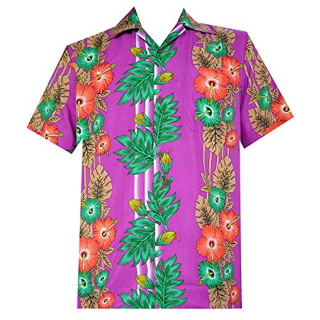 Silk Panel Camp Shirt (Hawaiian Shirt 45 Mens Panel Floral Beach Aloha Party Camp Holiday Purple)