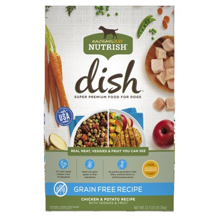 Rachael Ray Nutrish DISH Natural Dry Dog Food, Grain Free Chicken & Potato Recipe with Veggies & Fruit, 22.5 (Best Fruits And Veggies For Dogs)