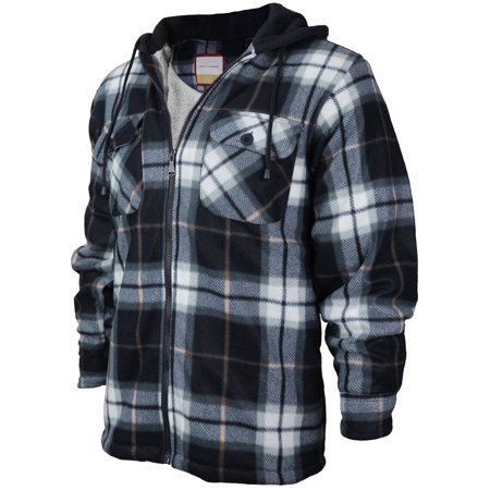 Mens Heavyweight Flannel Zip Up Fleece Lined Plaid Sherpa Hoodie Jacket A17 Navy White Grey Xl