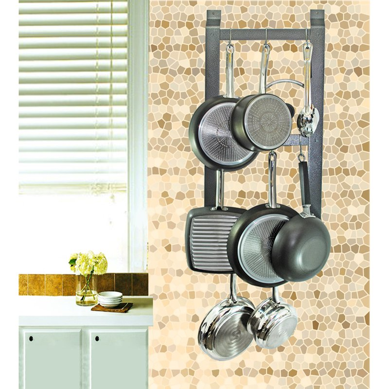 Rogar Hammered Steel Ultimate Wall Mounted Pot Rack