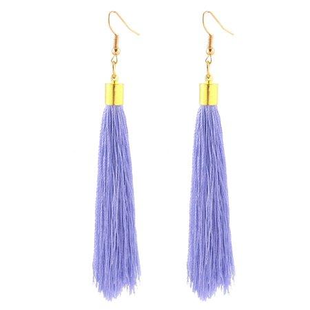 Mini Bead Adorn Fish Hook Decorative Tassel Dangle Earrings Pair Purple