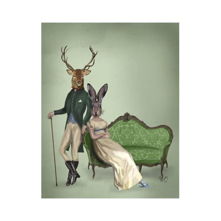 - Mr Deer and Mrs Rabbit Print Wall Art By Fab Funky