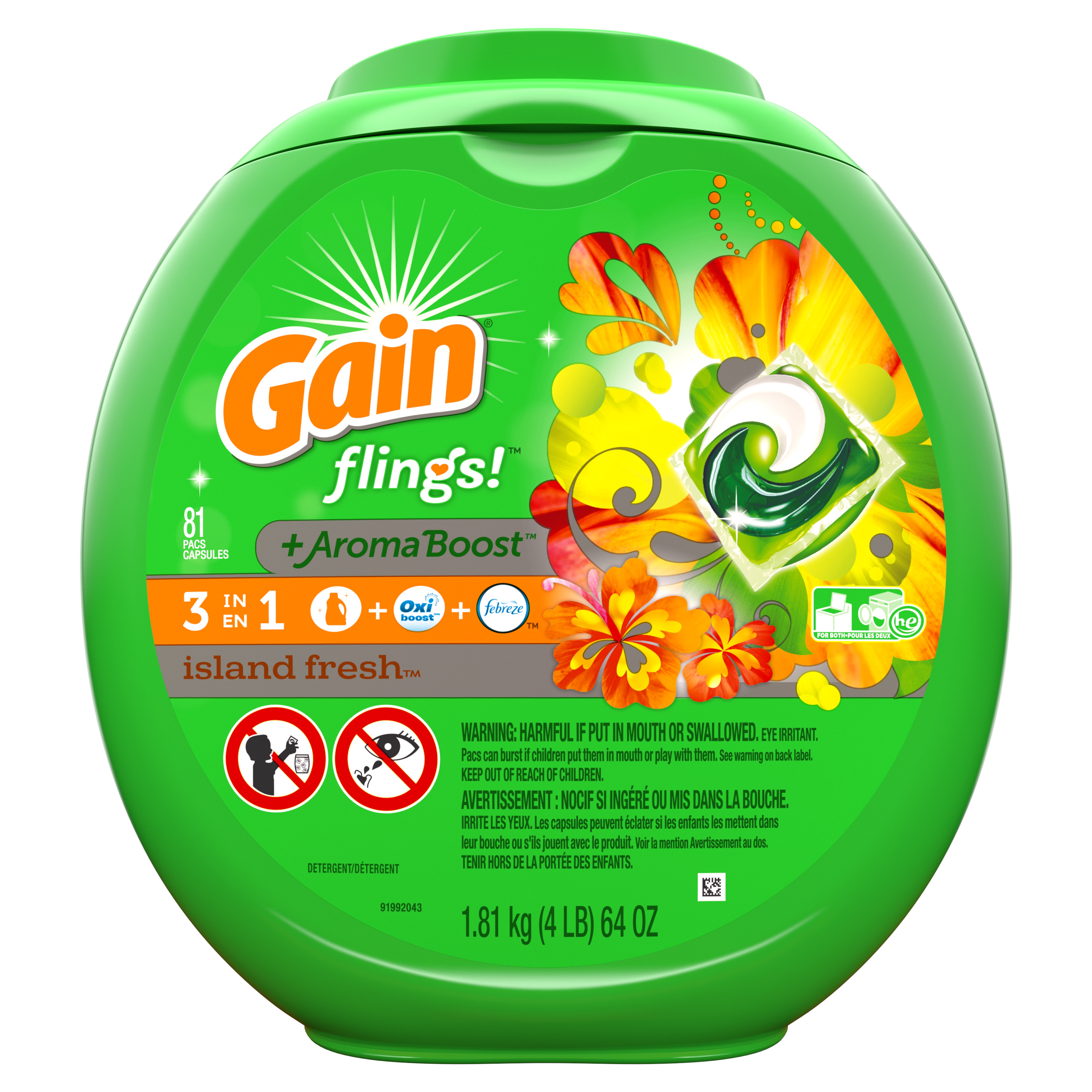 Gain flings! Liquid Laundry Detergent Pacs, Island Fresh, 81 count