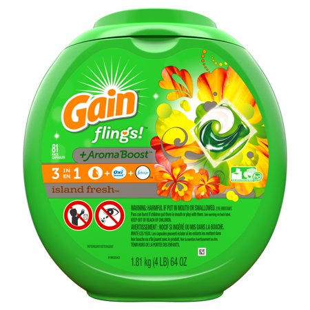 Gain Flings! Island Fresh Liquid Laundry Detergent Pacs, 81 Count
