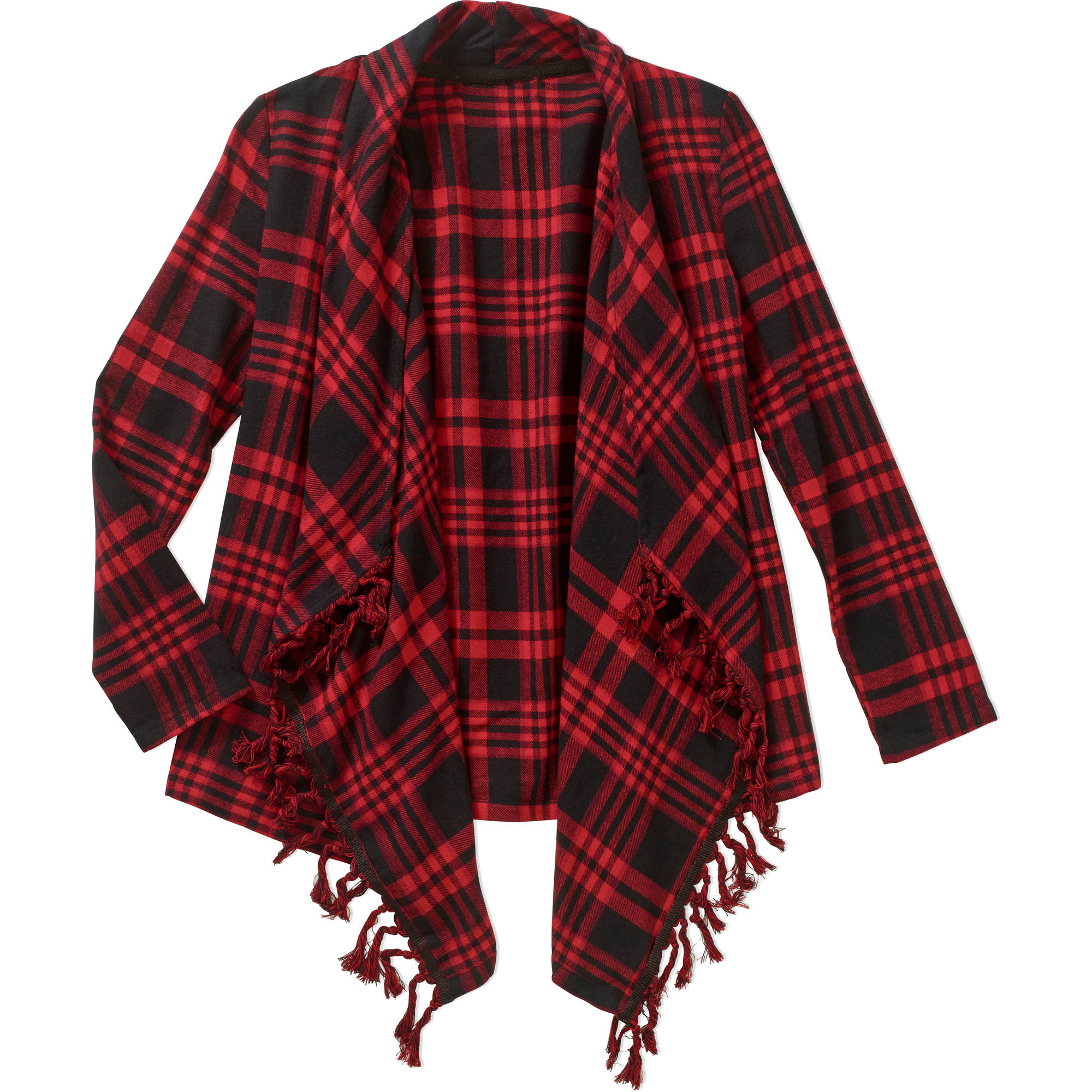 Girls' Flannel Cardigan with Fringe