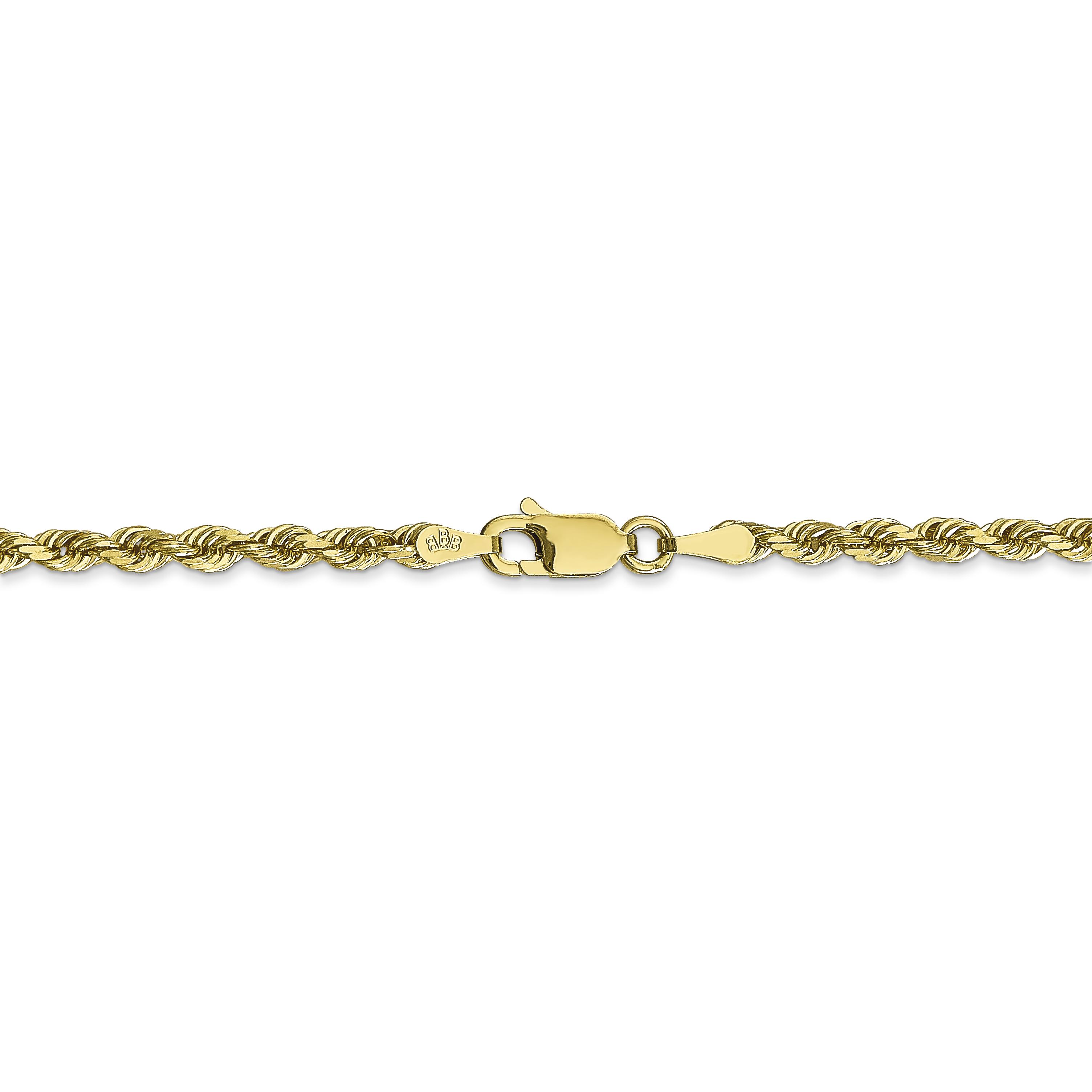 10K Yellow Gold 3.0mm Diamond Cut Quadruple Rope Chain 18 Inch - image 3 of 5