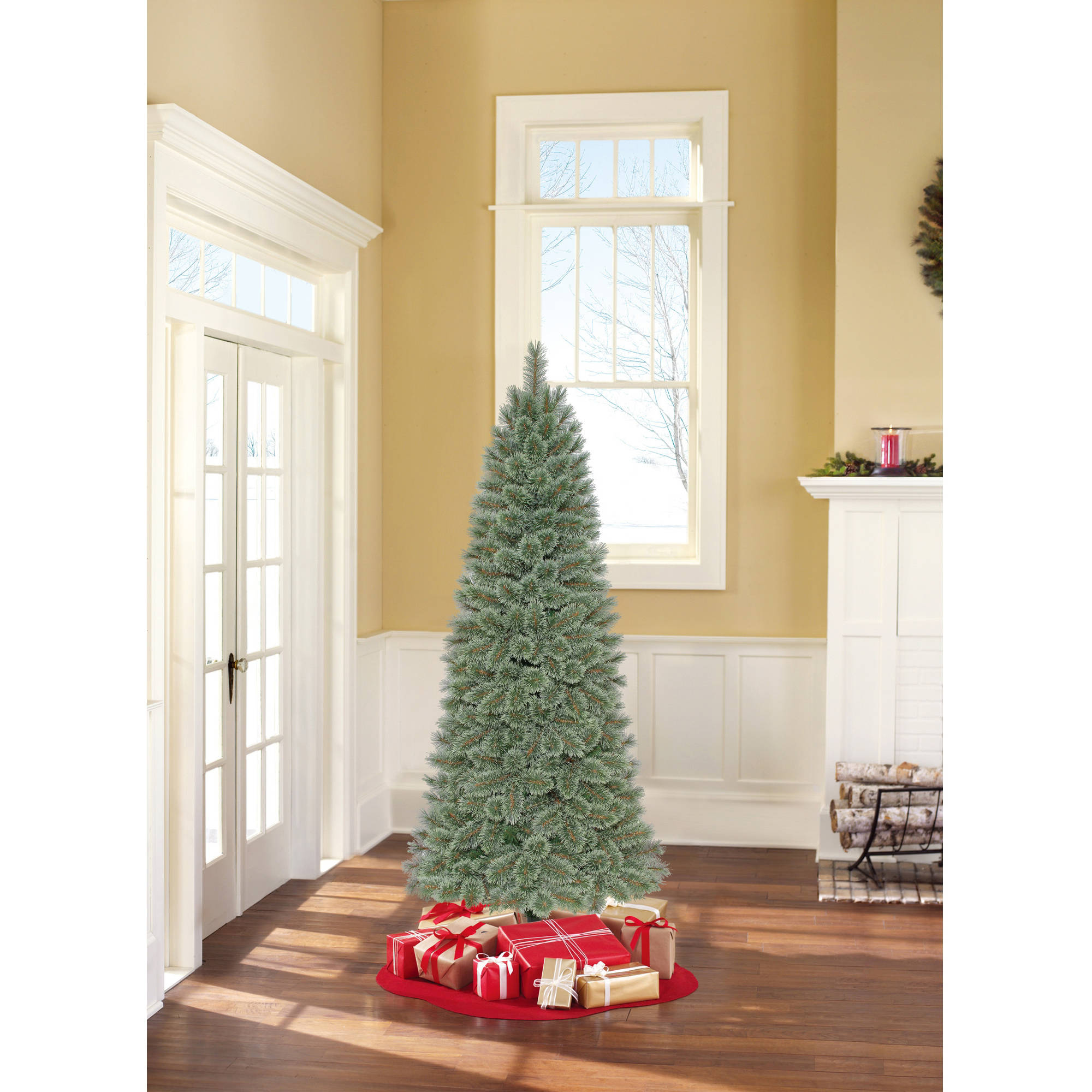 holiday time 4 foot snow tree snow kissed design with burlap pot walmartcom