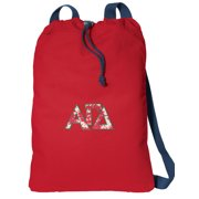 Canvas Alpha Gamma Delta Drawstring Bag DELUXE AGD Sorority Backpack Cinch Pack for Him or Her - Boys or Girls
