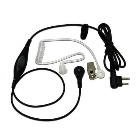 Maximal Power RHF MOT P01 Single Wire Surveillance Earpiece with Waterproof PTT Microphone for Motorola 2 Way Radio 2 Pin Plu