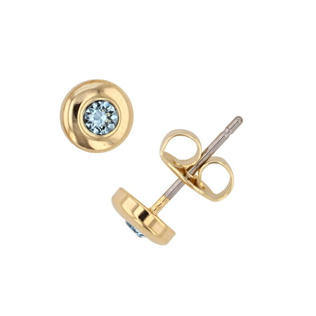 X & O 14-KT Gold Plated Bezel Post Earring With Swarovski Crystals in (Aquamarine Swarovski Crystal Earrings)