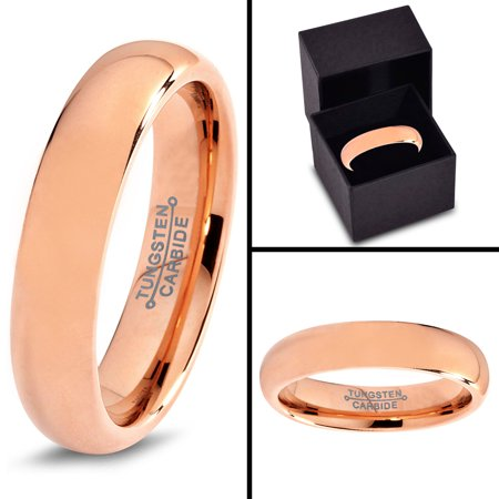 Tungsten Wedding Band Ring 5mm for Men Women Comfort Fit 18K Rose Gold Plated Plated Domed Polished Lifetime Guarantee - image 4 de 5