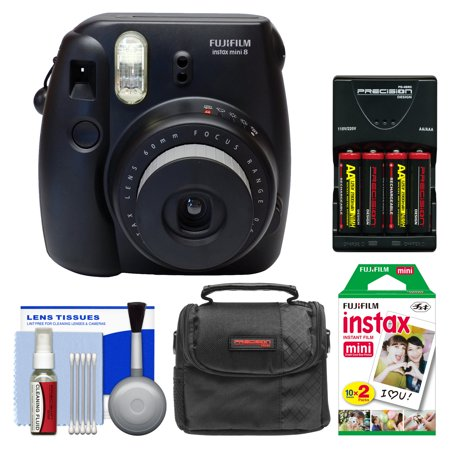 Fujifilm Instax Mini 8 Instant Film Camera (Black) with 20 Instant Film + Case + (4) Batteries & Charger + Kit