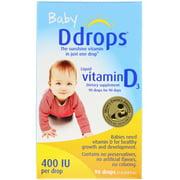 Ddrops Baby, Liquid Vitamin D3, 400 IU, 0.08 fl oz (2.5 ml), 90 Drops