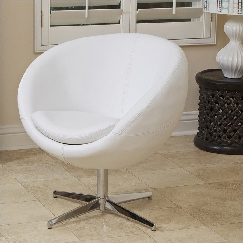 Trent Home Daniel Leather Egg Chair in White