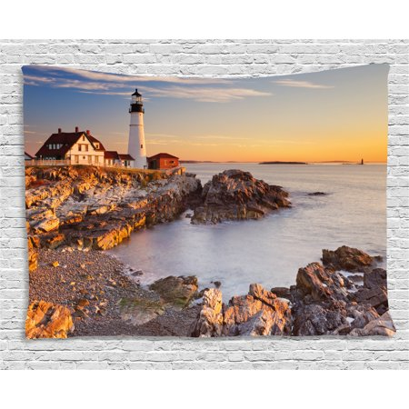 East Coast Lighthouses - United States Tapestry, Cape Elizabeth Maine River Portland Lighthouse Sunrise USA Coast Scenery, Wall Hanging for Bedroom Living Room Dorm Decor, 80W X 60L Inches, Light Blue Tan, by Ambesonne