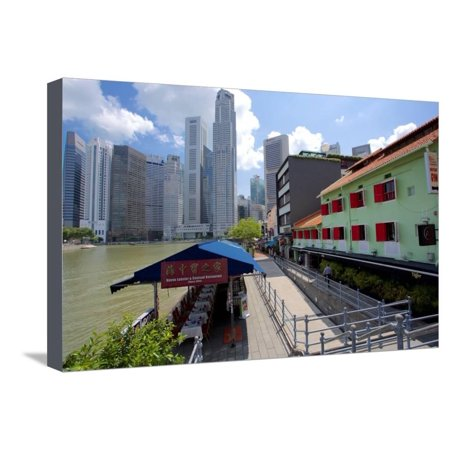 Singapore Boat Quay (Boat Quay, Singapore, Southeast Asia Stretched Canvas Print Wall Art By Frank Fell)