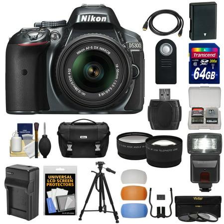 Nikon D5300 Digital SLR Camera & 18-55mm G VR DX II AF-S Lens (Grey) with 64GB Card + Battery + Charger + Case + Tripod + Flash + Tele/Wide Lens