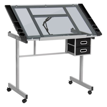 Best Choice Products Office Desk Station Adjustable Drafting Table w/ Wheels, Tempered Glass, Steel Frame for Painting, Drawing, Arts and Crafts - Silver/Black