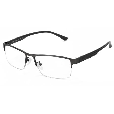 Cyxus Semi-Rimless Blue Light Blocking Computer Glasses Anti Eye Strain UV400, Metal Black Rectangle Frame Gaming