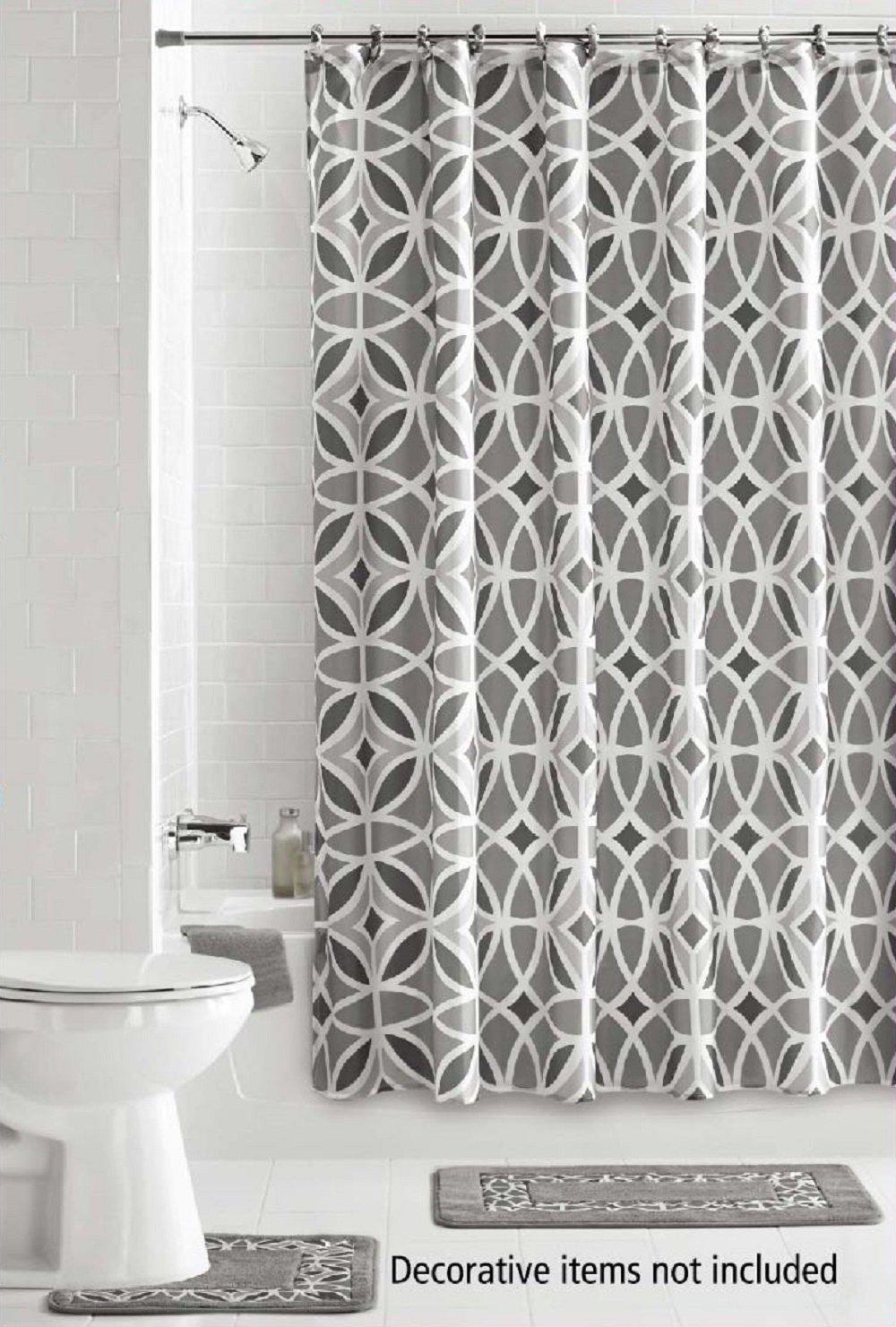 15 Piece Bath Set: 2 Gray Bathroom Mats, 1 Matching Shower Curtain, 12