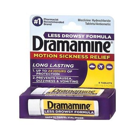 Dramamine Motion Sickness Relief Less Drowsey Formula  8 Count  Best Deal