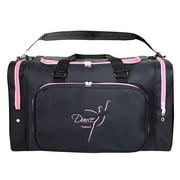 Sassi Design Black Pink Embroidered Dance Square Duffel Bag Tote