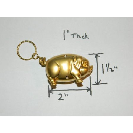 Golden Pig Cigarette Lighter Refillable Butane Gas Cigarette Lighter Pig Mascot w/Keychain - One Lighter ()