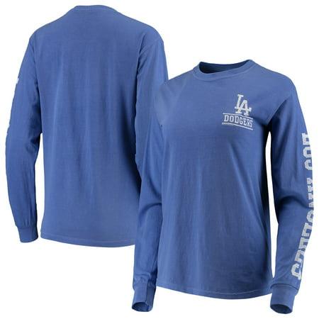 Los Angeles Dodgers Soft as a Grape Women's Pigment Dye Comfort Color Long Sleeve T-Shirt - Royal Pigment Dye T-shirt
