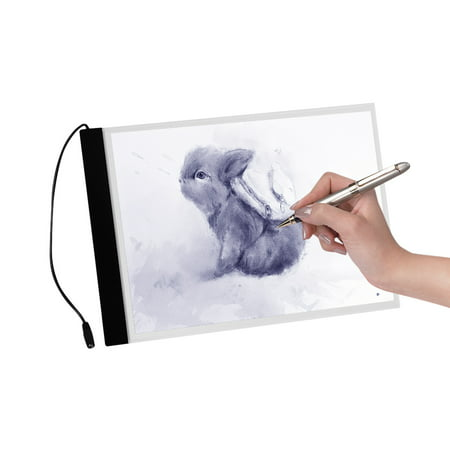 A4 Ultra-thin LED Tracing Light Box USB Powered Light Pad Table with Dimmer 3 Level Adjustable Brightness for Artists Kids Drawing Sketching Calligraphy Animation (Best Lightbox For Calligraphy)