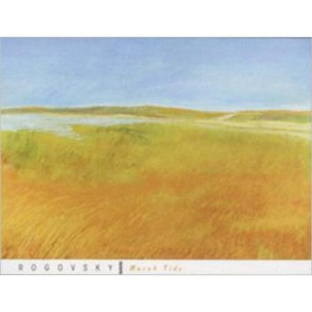 Marsh Tide by Michael Rogovsky 36x24 Art Print Poster Landscape Coastal Ocean Marsh Tall Yellow Grass Blue Sky
