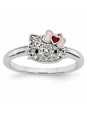 9420e35d5 Product Image Sterling Silver Gold-tone Nose Enamel Swarovski Ring - Size  6. Product TitleHello KittySterling ...