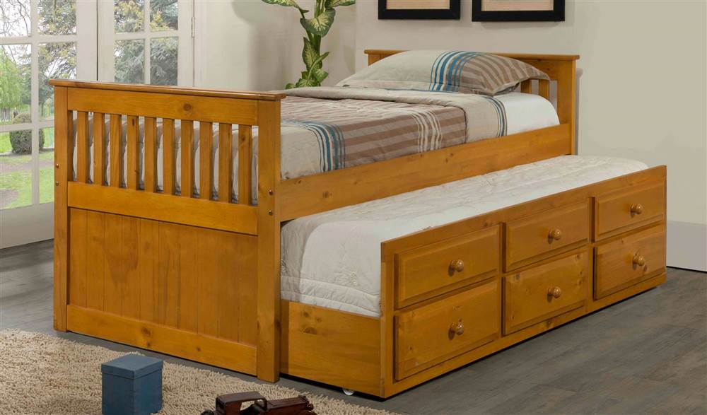 Twin Trundle Bed in Honey Finish by Pivot Direct Inc
