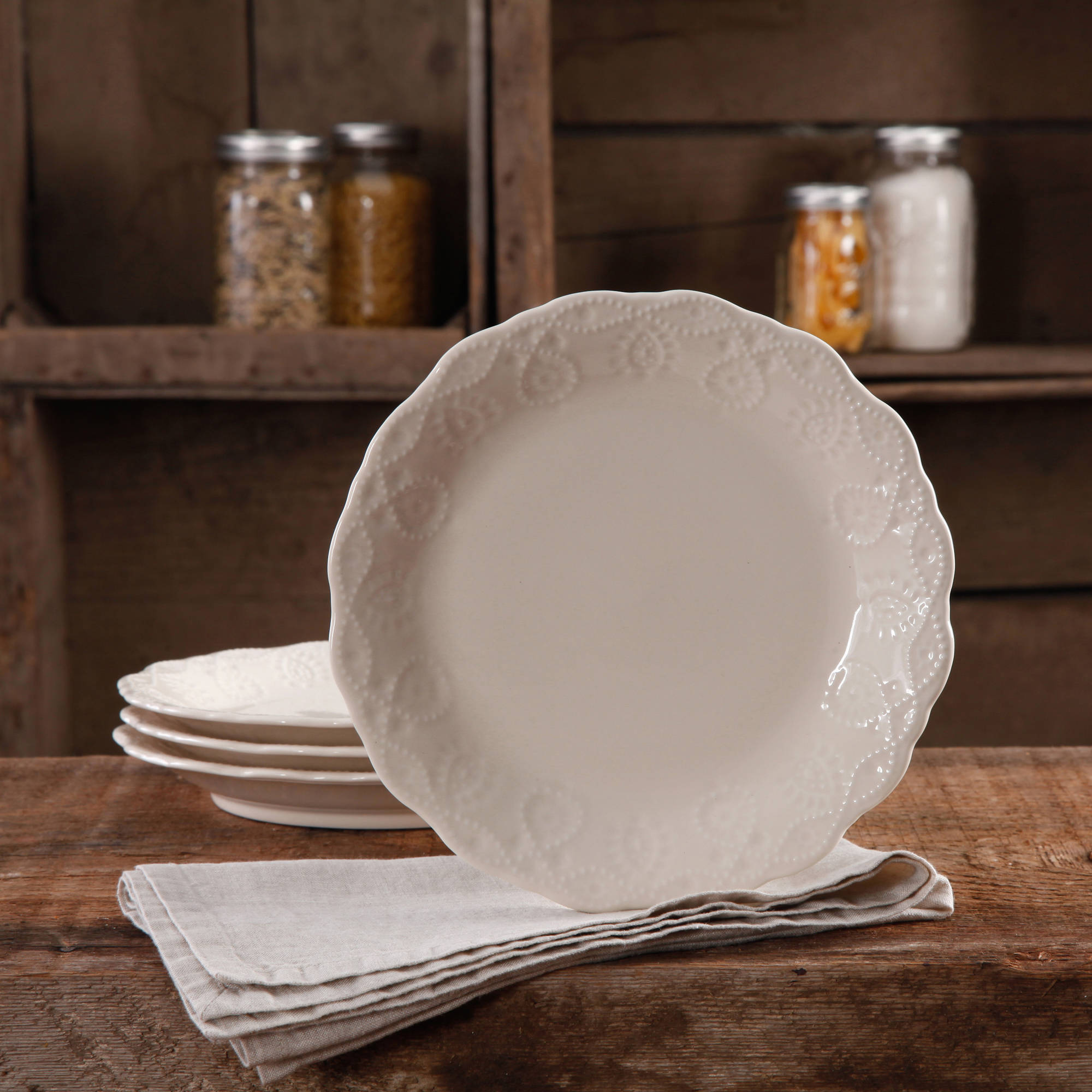 The Pioneer Woman Cowgirl Lace Transparent Glaze 4-Pack Dessert Plates