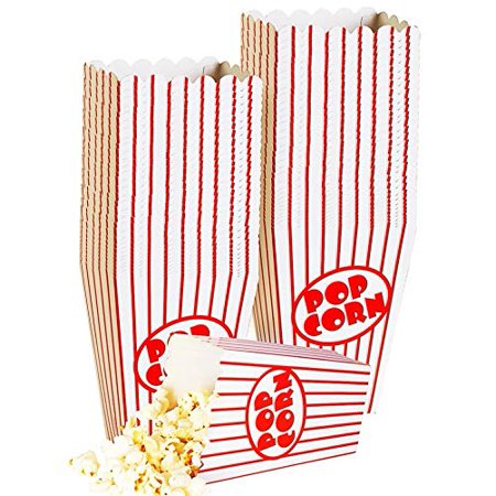 Small Popcorn Boxes - 40 Paper Popcorn Boxes Tubs Striped Red and White - Great for Movies, or Movie Party Theme, Theater Themed Decorations or Carnival Party Circus etc.](Movie Party)