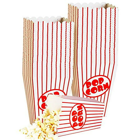 Small Popcorn Boxes - 40 Paper Popcorn Boxes Tubs Striped Red and White - Great for Movies, or Movie Party Theme, Theater Themed Decorations or Carnival Party Circus etc. - Movie Theme Party