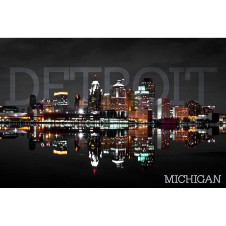 Detroit, Michigan - City at Night Print Wall Art By Lantern Press (Party City Taylor Michigan)