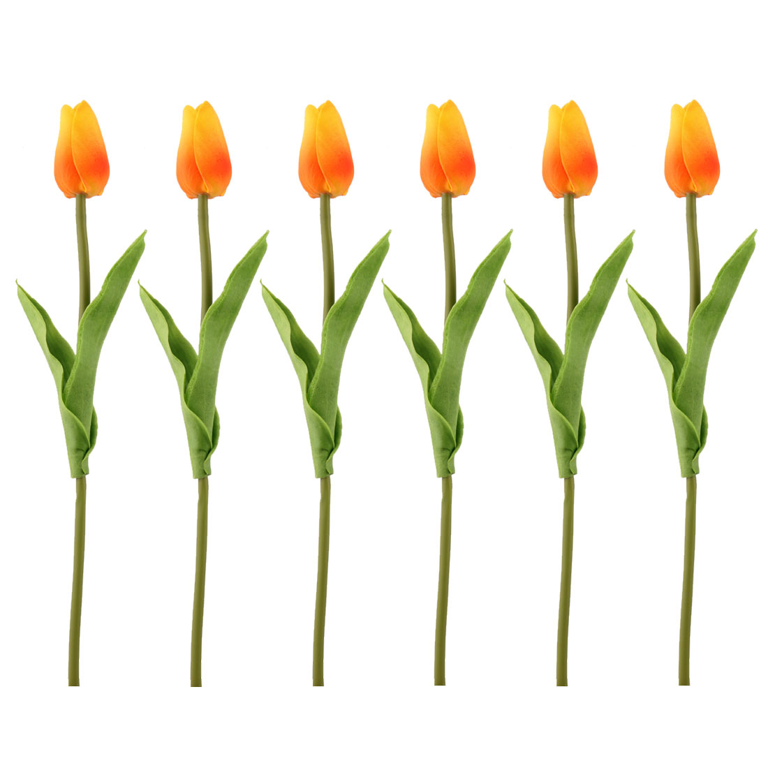 Wedding Tulip Design Handhold Artificial Flower Bouquet Yellow Orange 6pcs