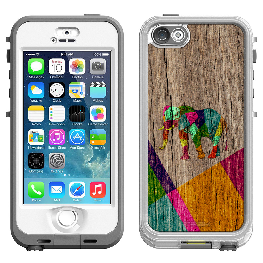 SKIN DECAL FOR LifeProof Nuud Apple iPhone 5 Case - Painted Elephant on Wood DECAL, NOT A CASE