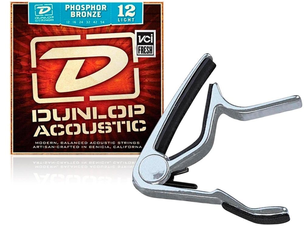 Dunlop Trigger Flat Nickel Capo and�Phosphor Bronze Light Acoustic Guitar Strings by Dunlop